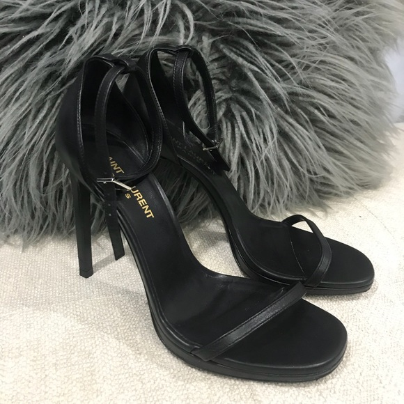 cfb43c05b55 Saint Laurent Jane Leather Ankle Wrap Black Sandal.  M 5ac412132ae12f7e4ba9446b